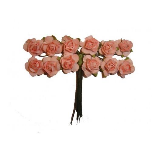 Różowe Różyczki Z Papieru Na Druciku 12 Sztuk