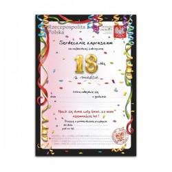 Zaproszenie Na 18 Urodziny Wzór 5 Dowód